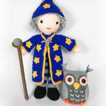 Merlin the wizard and Hoots the owl amigurumi pattern by Janine Holmes at Moji-Moji Design