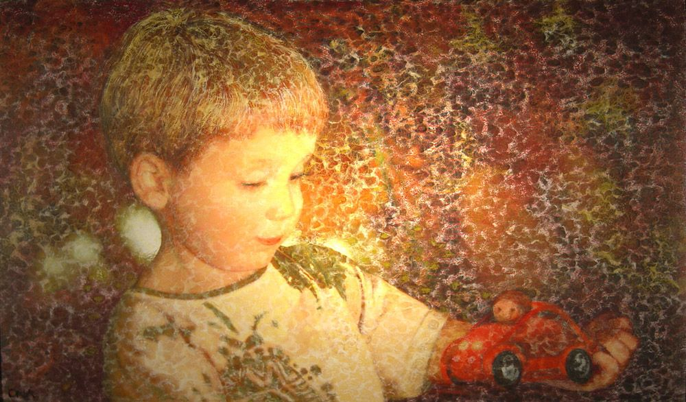 """""""Boy with his racing car"""" © Ona Henderson - painting commission"""