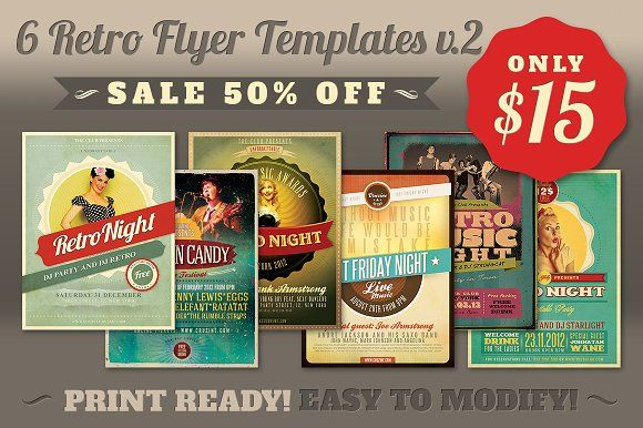 Retro Flyer Templates V  Flyer Template And Template