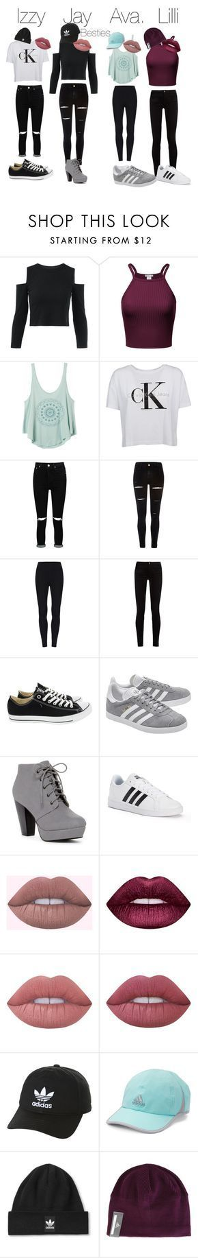 Squad by isabella2845 ❤ liked on Polyvore featuring RVCA, Calvin Klein, Boohoo, River Island, Gucci, Converse, adidas Originals, adidas, Lime Crime and Topshop #adidasclothes