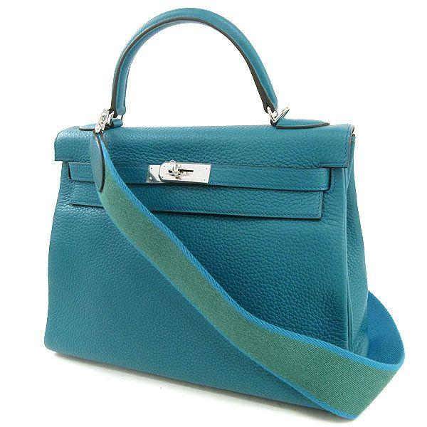 pretty nice ec341 a00b4 エルメス ハンドバッグ ケリー アマゾン 32 cm 内縫い ブルー ...