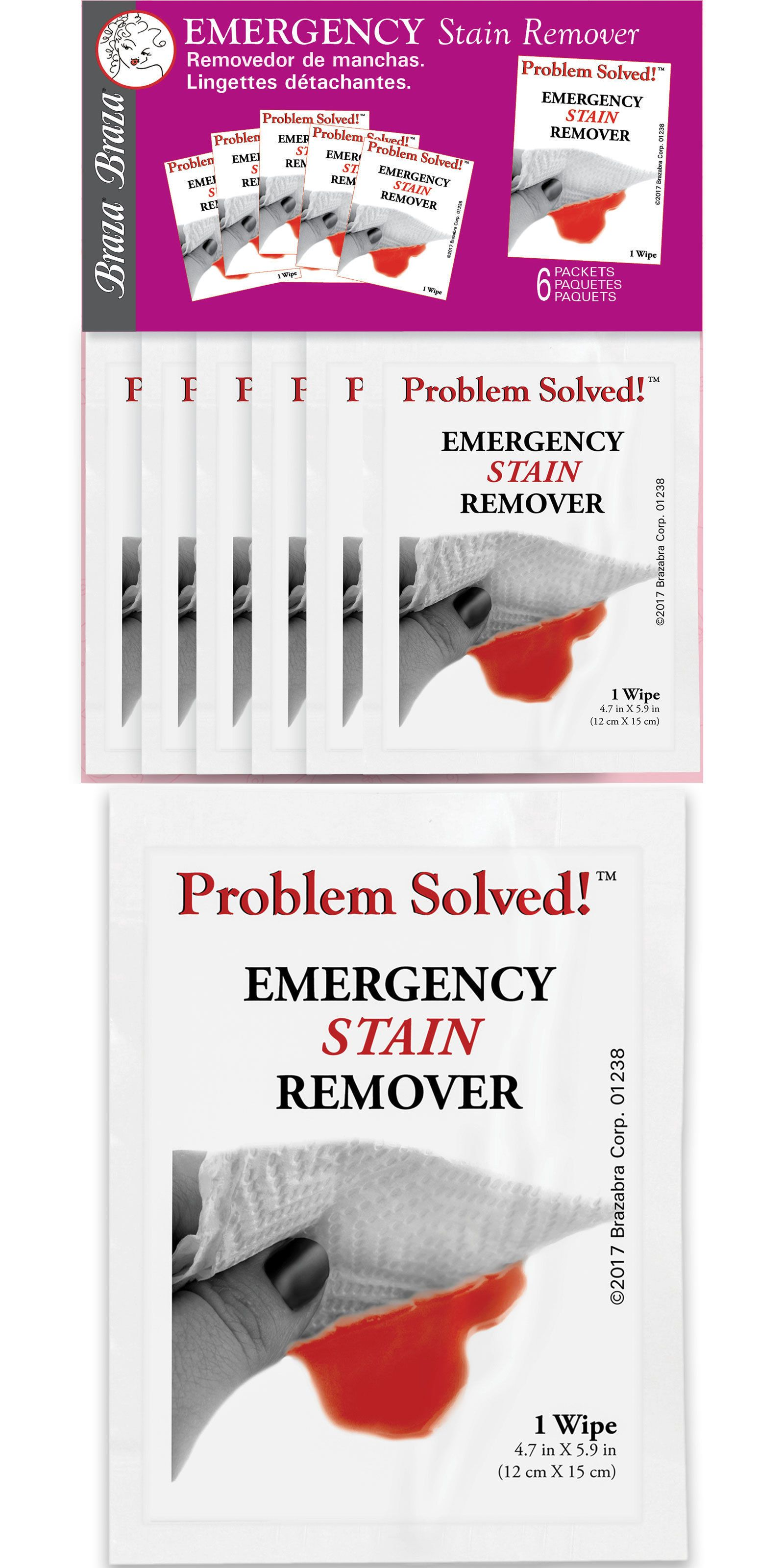 Details About Braza Emergency Stain Remover Towelettes On The Go