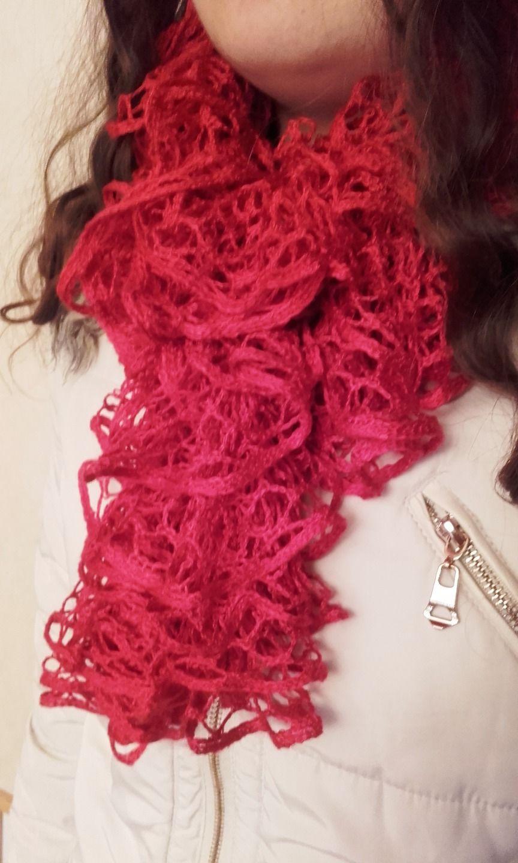 2c3e64c3b75d Echarpe frou frou, rouge, fine laine sashay.   Echarpe, foulard, cravate  par confection-kelly