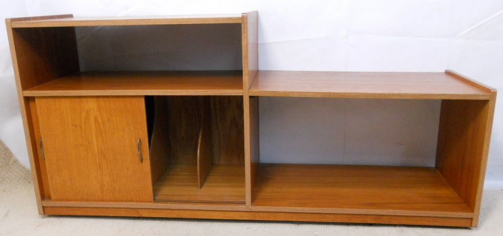 Teak 1960 s Retro Low Level Bookcase LP Record Storage Unit SOLD