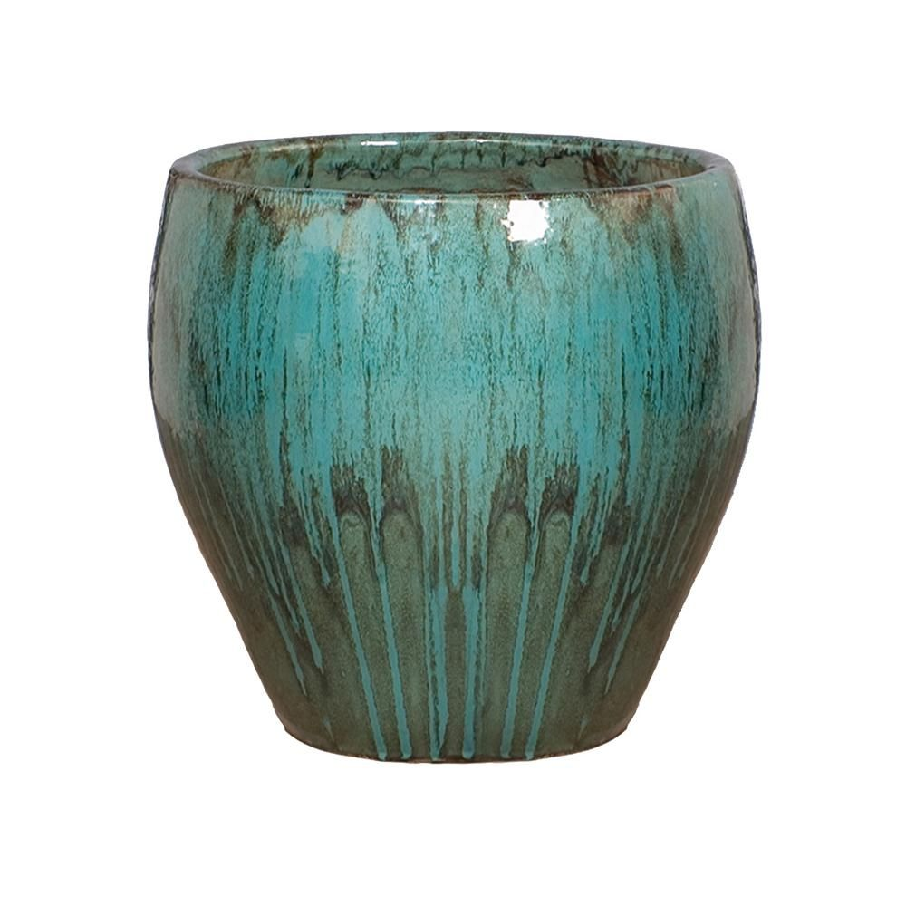 Emissary 24 In Dia Teal Round Ceramic Planter Blue Nel 2020
