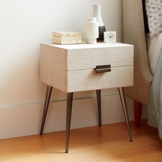 Hayworth Nightstand Platinum Linen $299 West Elm