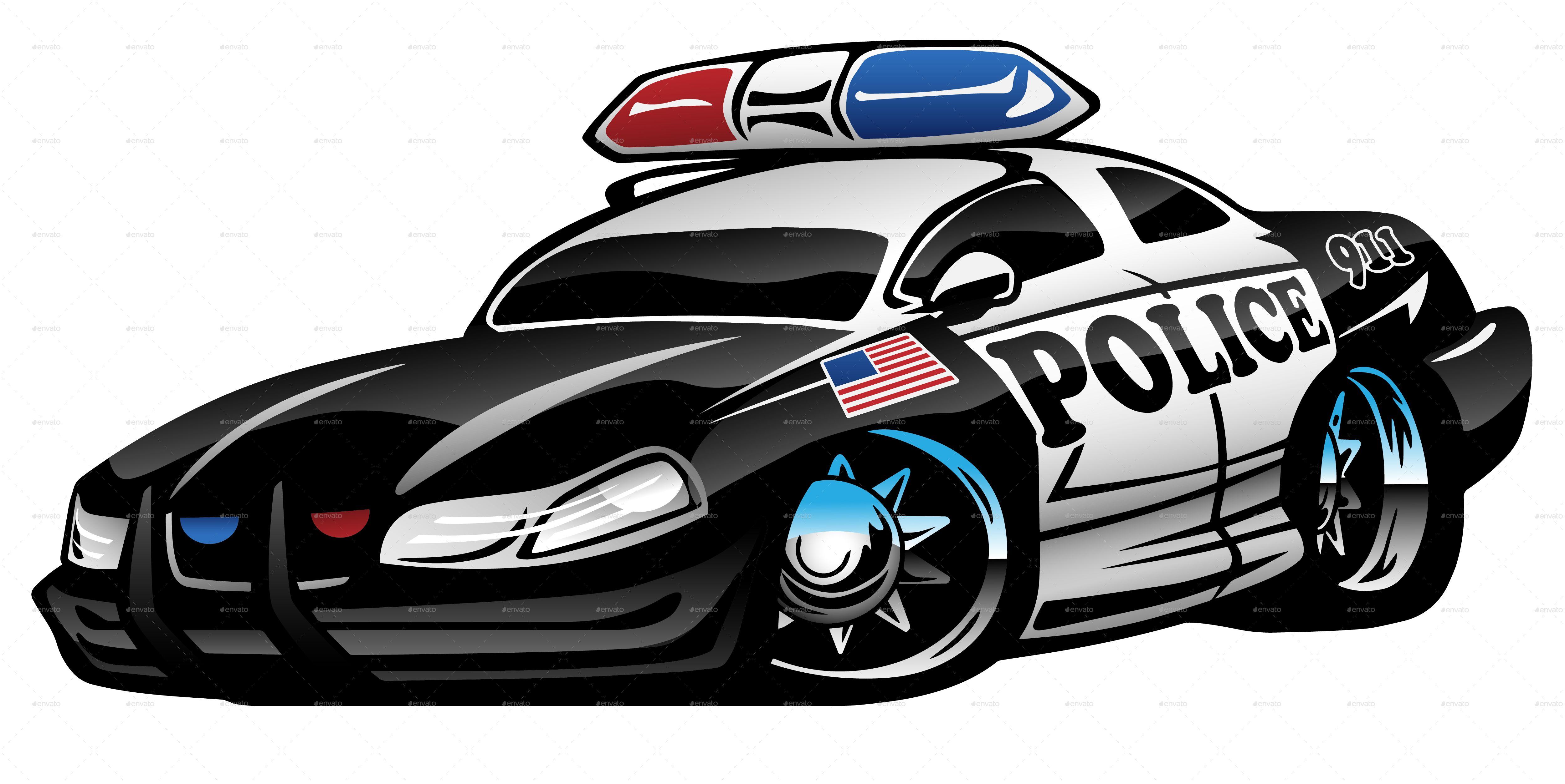 Police Muscle Car Cartoon Muscle, Police, Cartoon, Car
