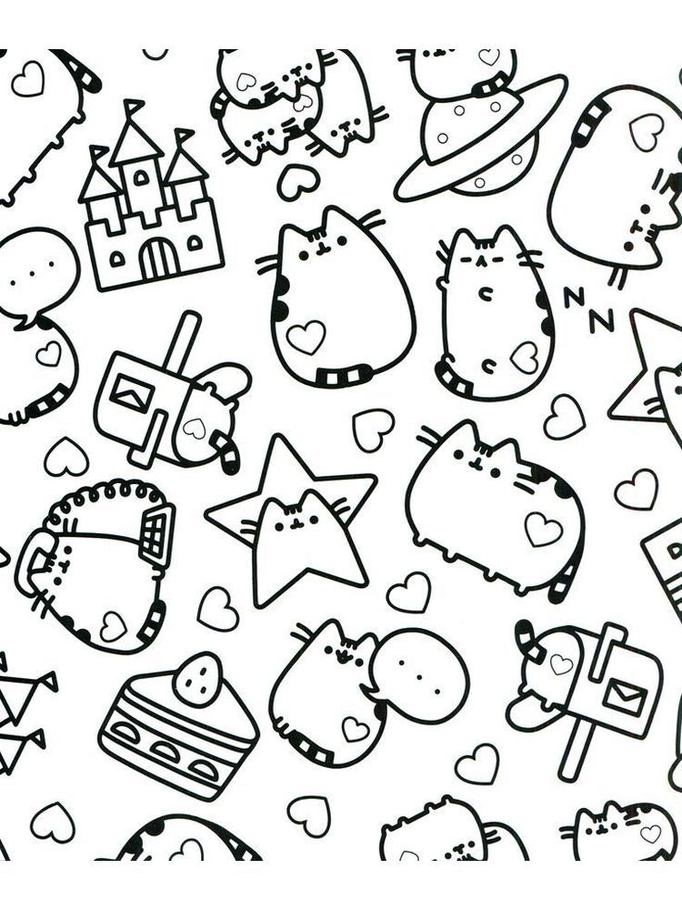 Pusheen Coloring Page Printable 1 Pusheen Is A Female Cartoon Cat That Is A Comic Material And St In 2020 Pusheen Coloring Pages Cat Coloring Page Cute Coloring Pages