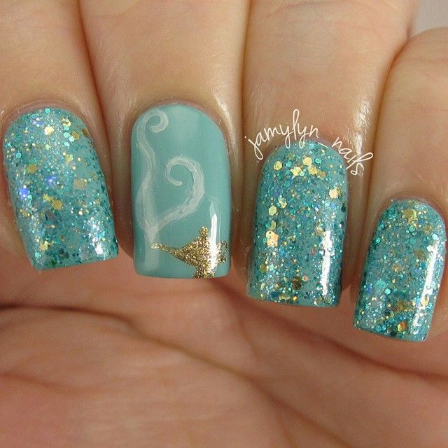 Jamy On Instagram Here Is Jasmine By Sincerelypolish A Beautiful Blend Of Gold And Turquoise G Jasmine Nails Disney Princess Nails Disney Inspired Nails