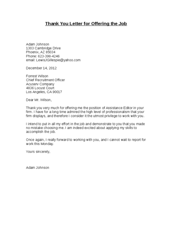 Thank You Letter Email After Job Offer Cover Templates For Subject