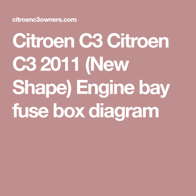 Citroen C3 Engine Bay Fuse Box Diagram New Shape 2011 Citroenc3