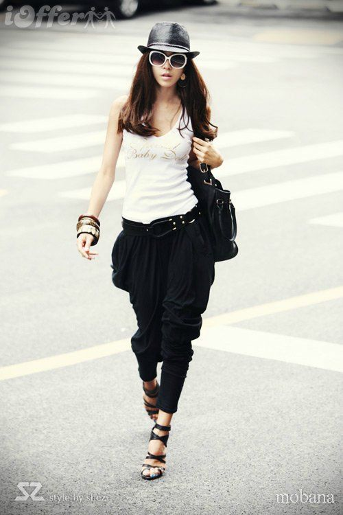 MEKO free harem pants ladies dots black