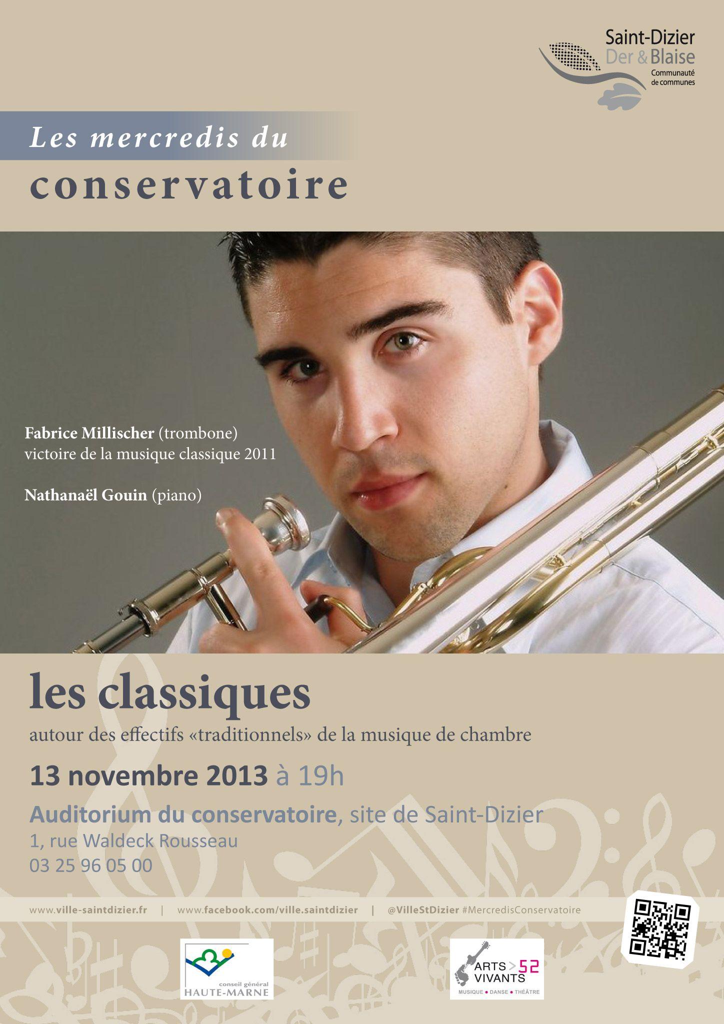 Affiche pour les mercredis du conservatoire : les classiques. Mercredi 13 novembre 2013, à Saint-Dizier. Création originale.