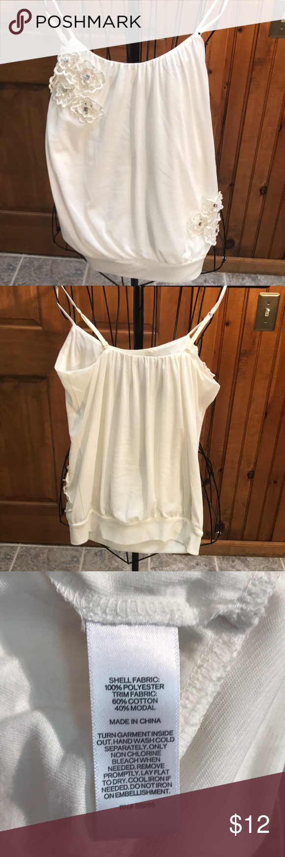 7f1219a496e44 Express Tank Top Cream colored Flowers with rhinestone accents Spaghetti  strap-adjustable Lined Banded bottom Shows some wear -Still has lots of  life ...