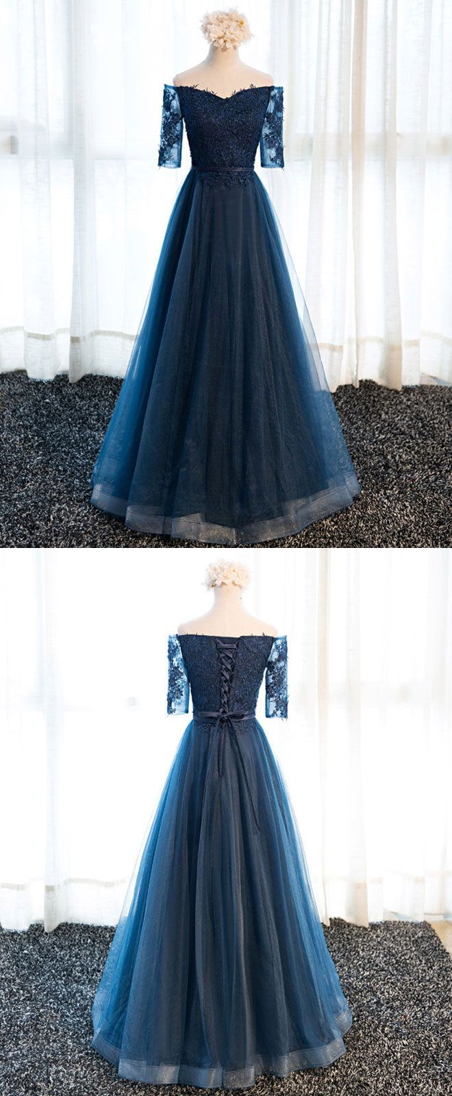 Dark blue lace tulle long prom dress lace evening dress long prom
