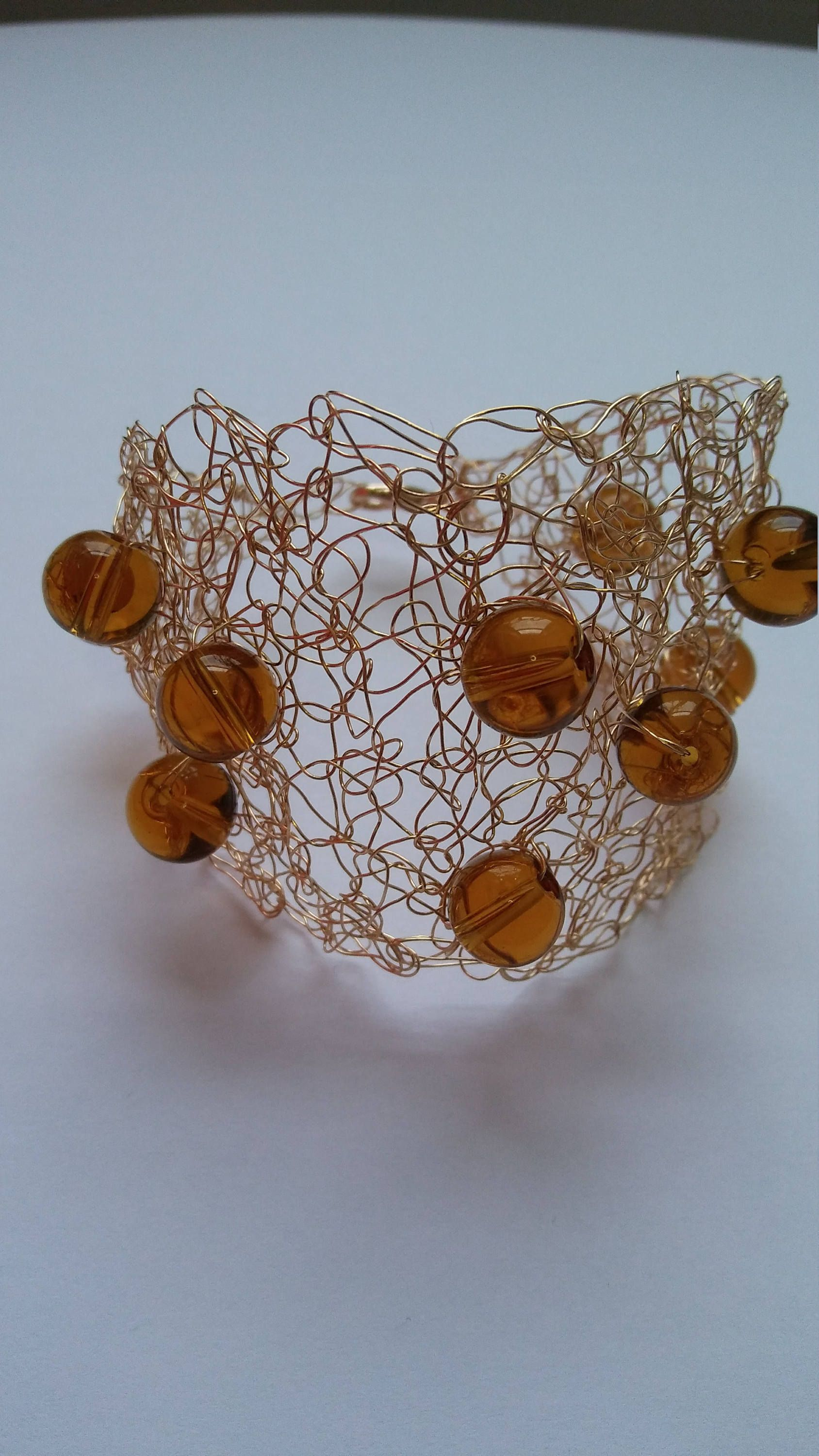Handmade crochet wire bracelet gold color with amber color beads ...