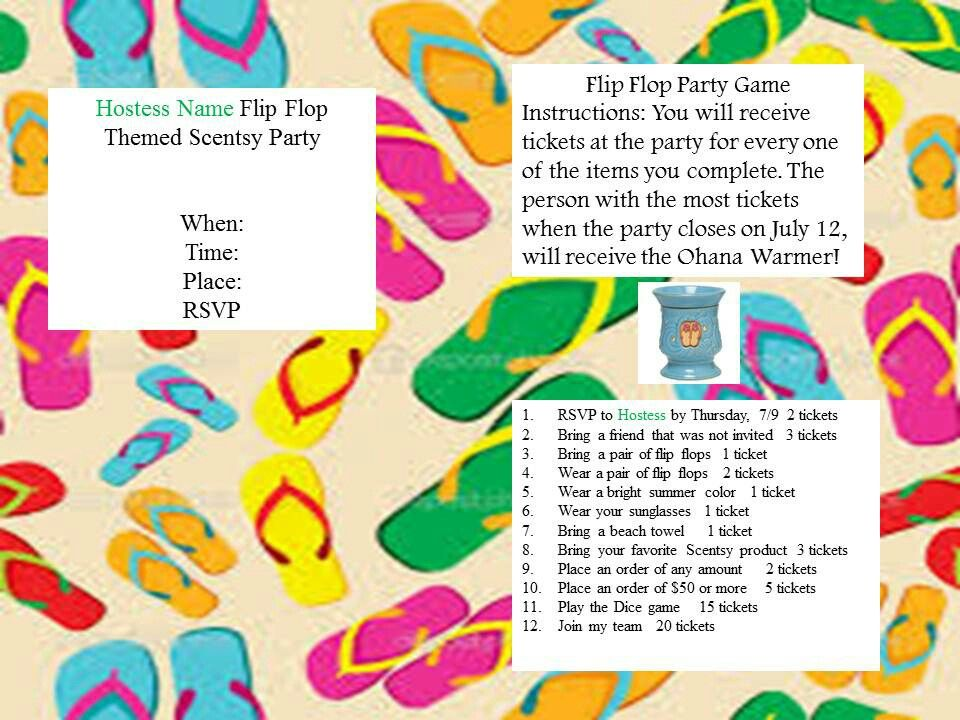 Flip flop theme party invitation for scentsy https://leighmalumay ...