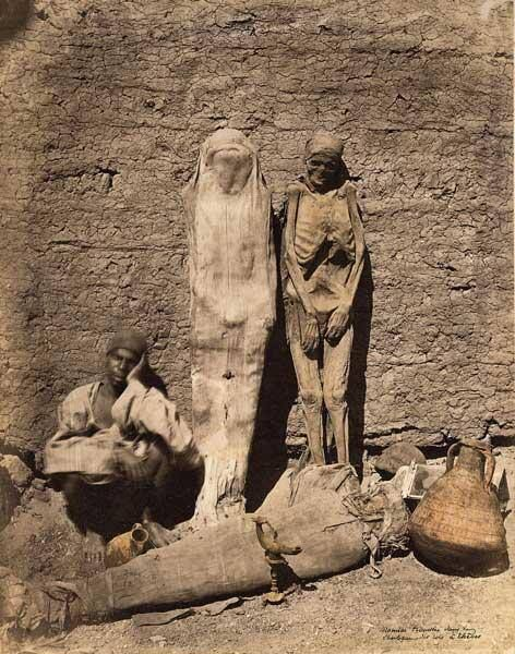 Actual shot from 1875 of man selling mummies on the street. (by French photographer Félix Bonfils) Courtesy Melissa Cooper.