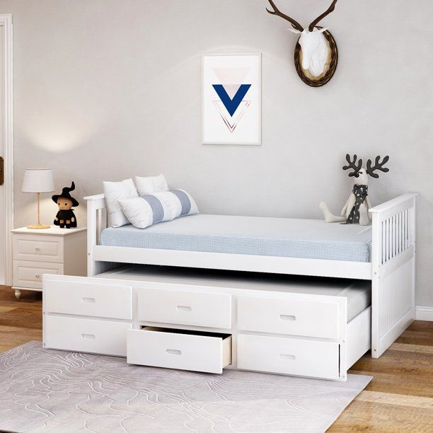 Merax Solid Wood Captain Bed With Trundle And Drawers Twin Multiple Colors Walmart Com Trundle Bed Bed With Drawers Captains Bed Twin bed with trundle and storage