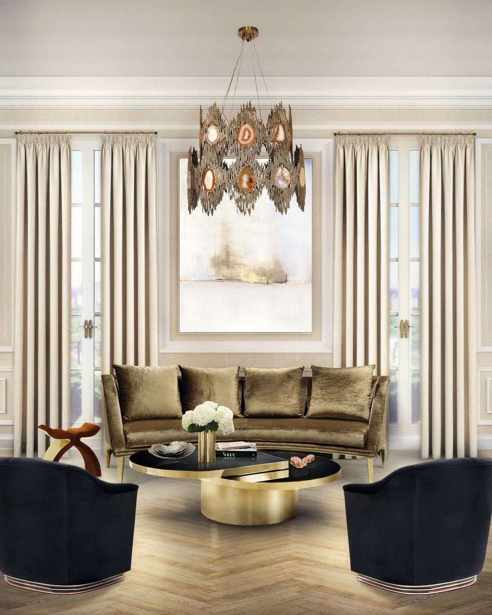 Interior design project by koket featuring the radiant vivre chandelier koket luxurydesigns exclusivedesigns
