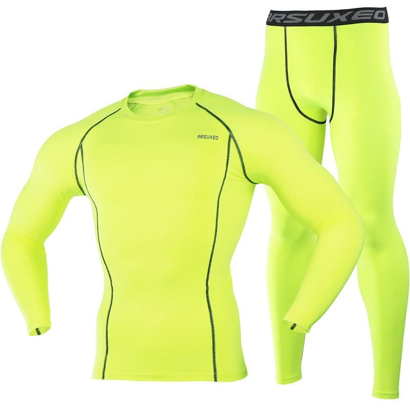 22f418823 Running T Shirt and Pants Men Compression Tights Underwear Sets ...
