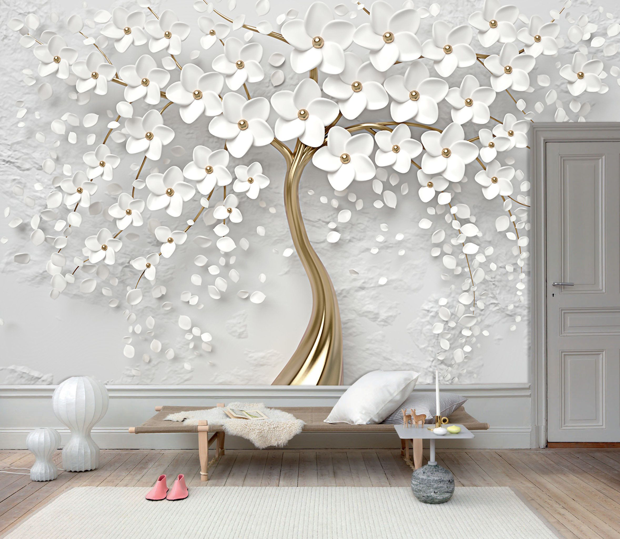 3D Gold Tree Floral, White 3D Floral Wall Mural, Wall Art