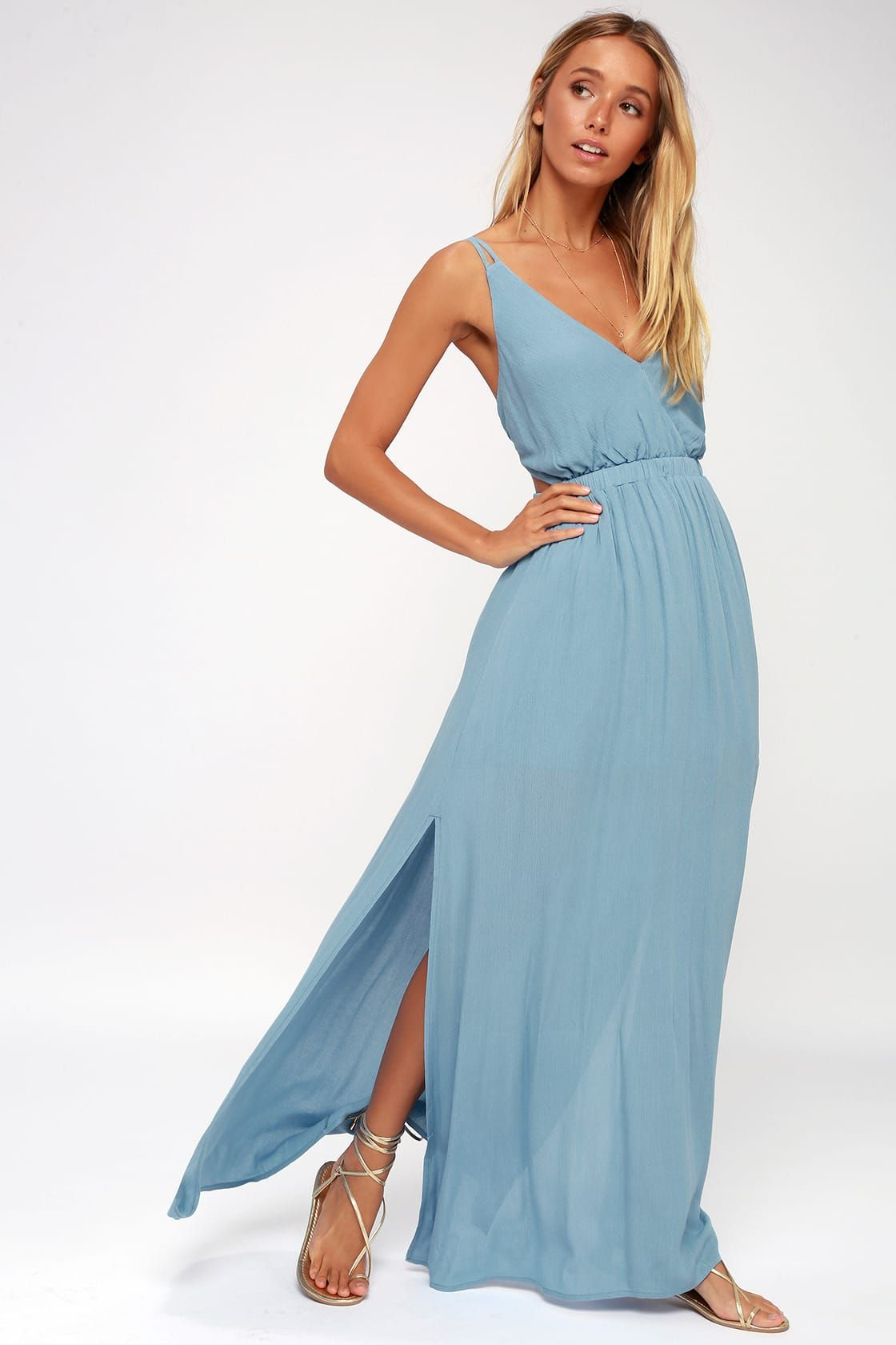 15151f03622 Lovely Slate Blue Dress - Backless Dress - Maxi Dress
