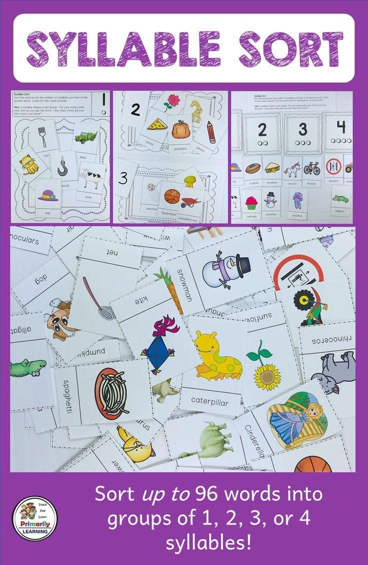 Syllable Sort Phonological awareness activities