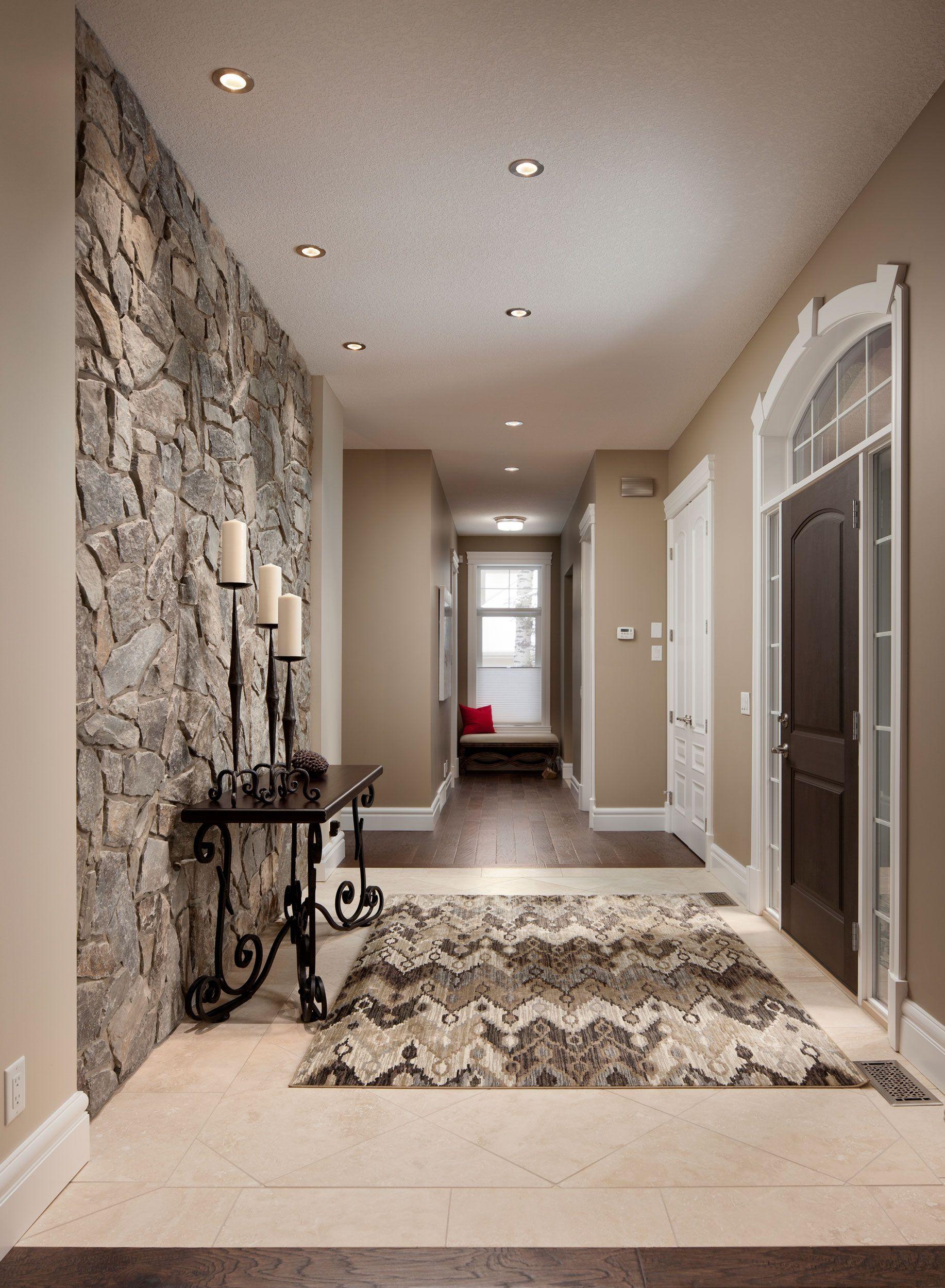 Zen Foyer Design : Moose mountain cottage thin veneer modern stone