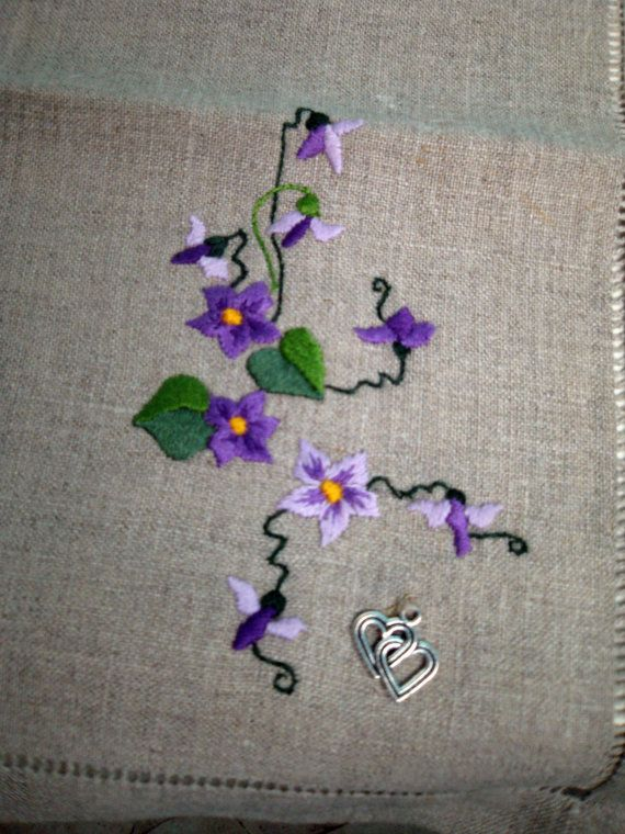 Napkin hand embroidery shading technique wild pansy by