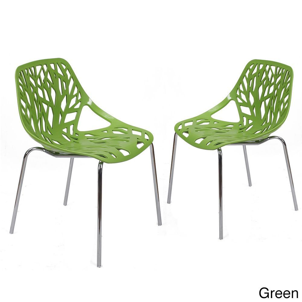 adeco cut out tree design plastic dining chairs with chrome legs