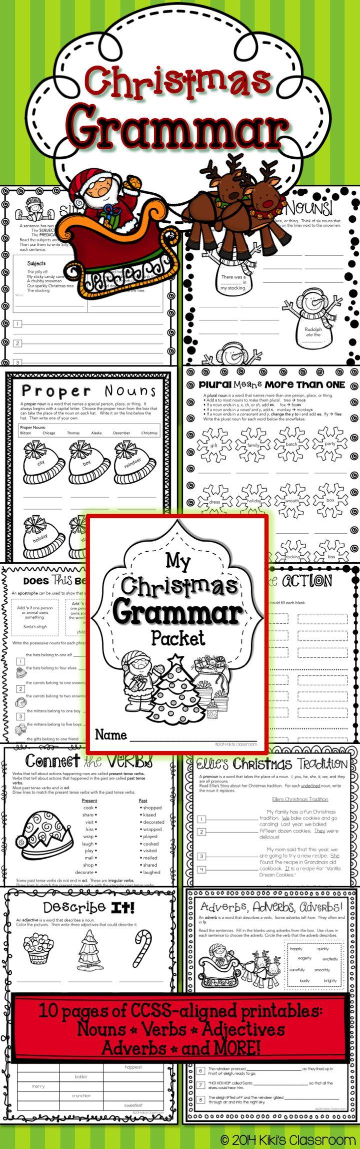 3rd Grade Christmas Activities 3rd Grade Christmas Grammar Parts Of Speech Nouns And Verbs Nouns Verbs Adjectives 2nd Grade Writing