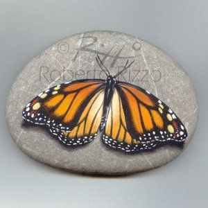 Monarch butterfly | Rock painting art by Roberto Rizzo