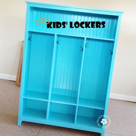DIY Storage Lockers for Kids -- No Mudroom? No problem! {OneCreativeMommy.com}(Diy House Storage)