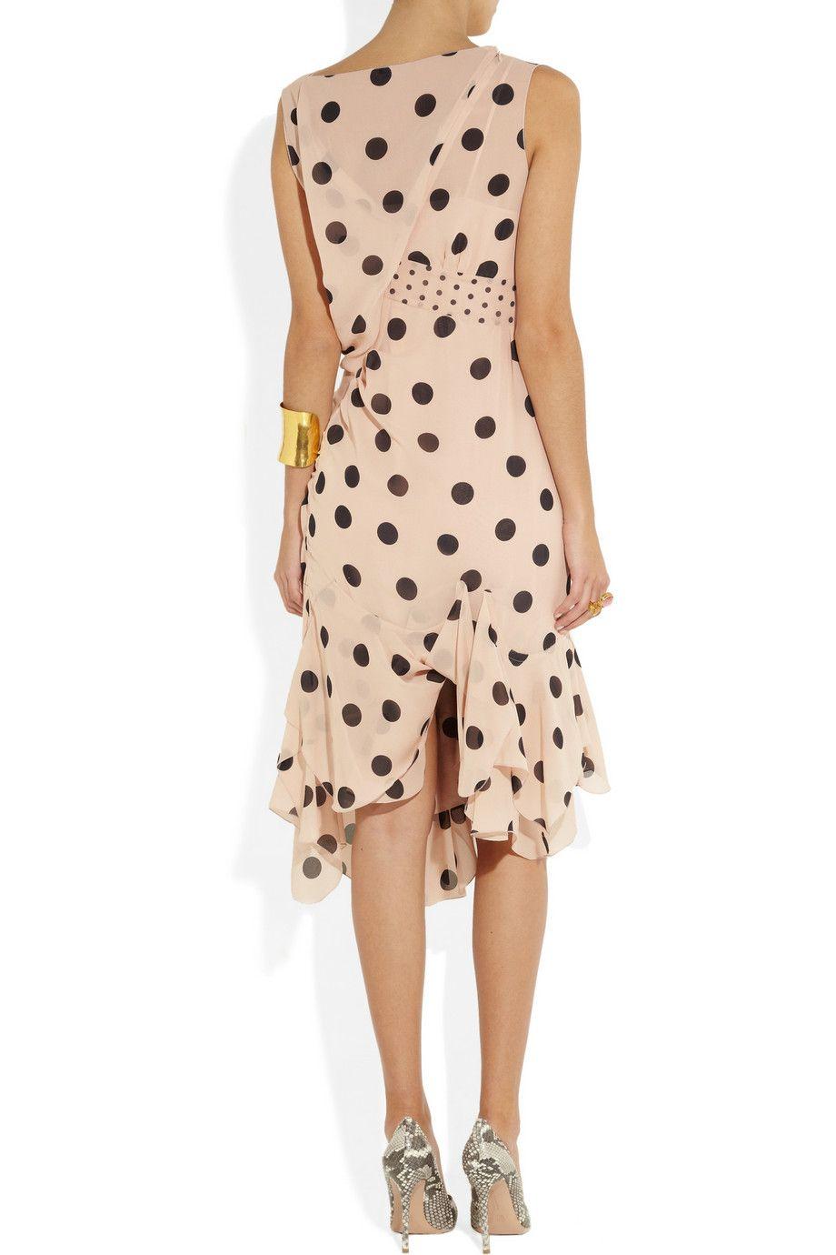 1dcf8fe66a Nina Ricci Polkadot Silk-Georgette Dress in Pink (blush)