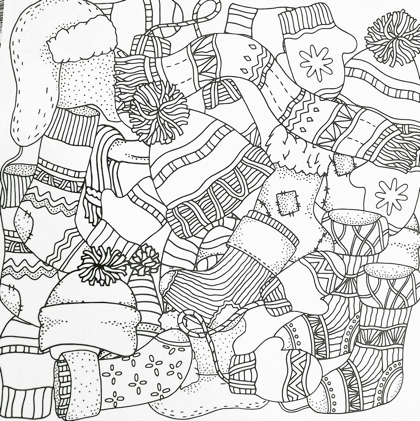Winter adult coloring page socks, mittens, hats