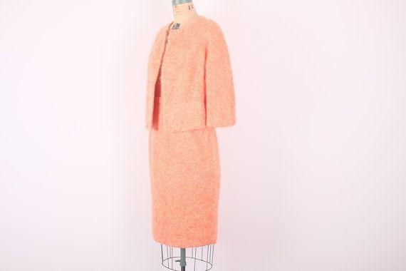 Retro Lilli Ann Suit // Designer Vintage Suit Set // 1960s Lilli Ann Knits // Tangerine Orange (medium)