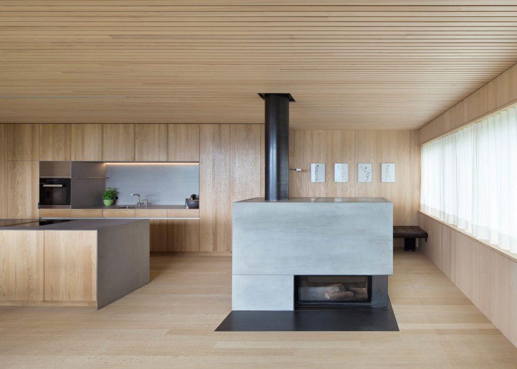 schlichte holz k che mit kochinsel in modernem design kochinsel betonm bel und k chen ideen. Black Bedroom Furniture Sets. Home Design Ideas