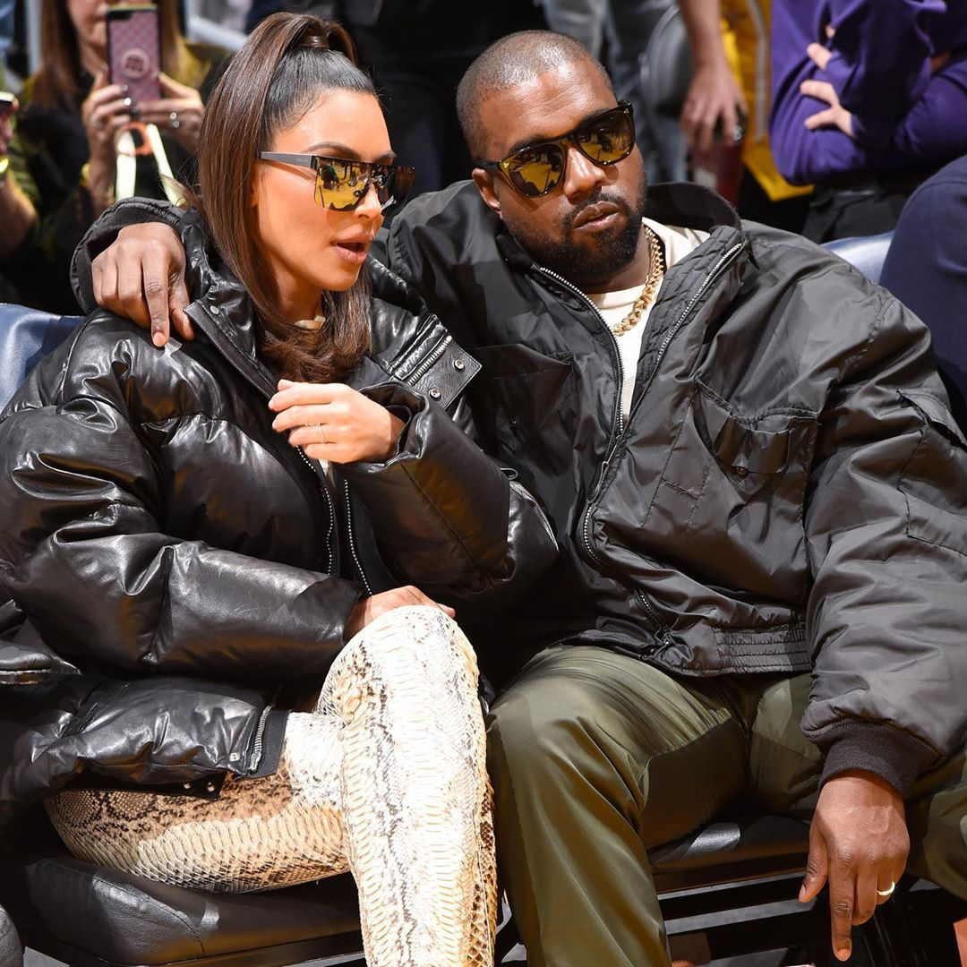 Kim Kardashian Kanye West Cheer On The Lakers As They Play Against The Cleveland Cavaliers In 2020 Kim Kardashian Kanye West Kim Kardashian And Kanye Kim Kardashian