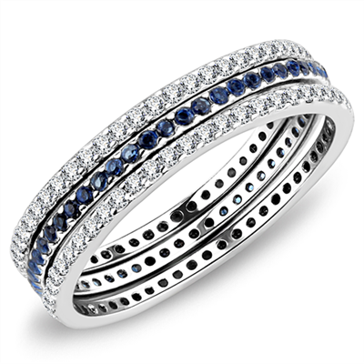 A Perfect Blue Sapphire Russian Lab Diamond Eternity Stacking