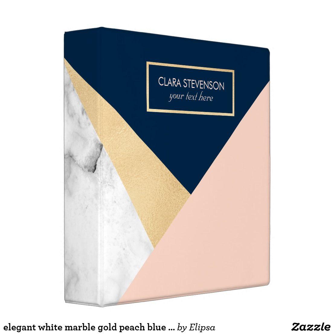 Elegant White Marble Gold Peach Blue Color Block 3 Ring