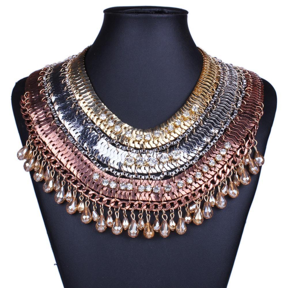 New Punk Boho cristal strass Chian Chunky Bib declaração cadeia colar, Étnico Vintage falso colar colar de jóias mulheres em Colares com pingente de Jóias no AliExpress.com | Alibaba Group