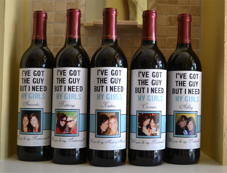 Diy Wine Bottle Labels Custom Bridesmaid Wine Label Will You Be My Bridesmaid