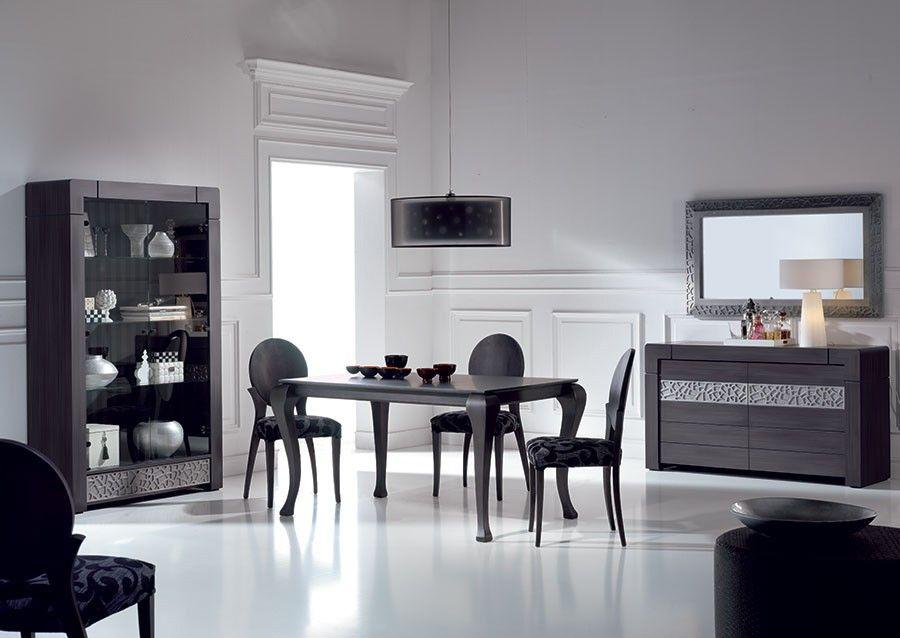 salle à manger complète contemporaine cameron, coloris patiné gris ... - Salle A Manger Contemporaine Complete