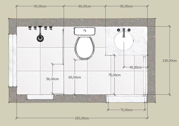 Medidas mínimas de um banheiro  INTBanheiros  Pinterest  Banheiro pequeno -> Tamanho Minimo Para Banheiro Com Banheira