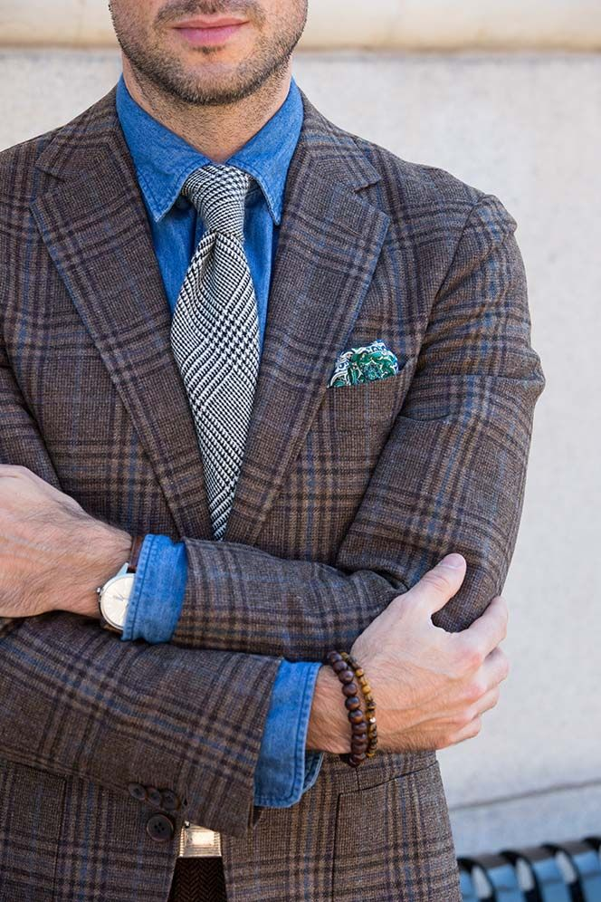 cefc4679 Men's Fall Outfit Idea Plaid Blazer with Denim Shirt and Tie - He Spoke  Style