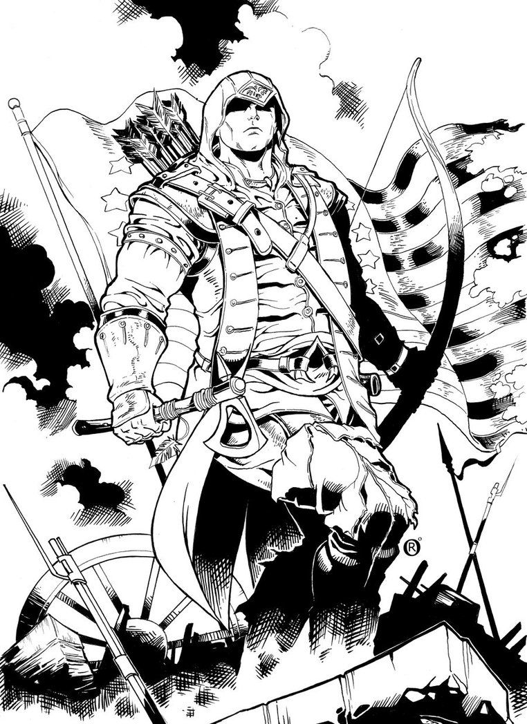 Assassins Creed 3 Coloring Page Colouring Pages Assassins Creed Sketches