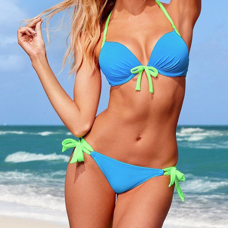 e11ab73483f20 Two-Tone Color Contrast Sexy High-Quality Bowknot 2-PC Bikini Bathing Suit  S-L 10 Colors