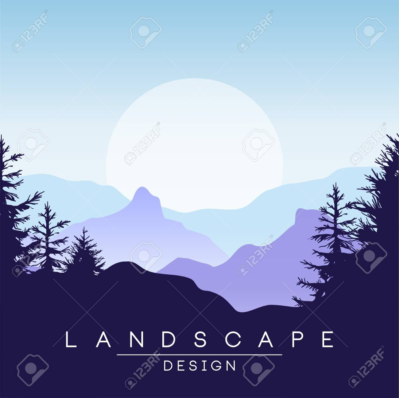 Beautiful Peaceful Mountains Landscape At Sunset Nature Background For Banner Flyer Poster And Cover Vector Nature Backgrounds Mountain Landscape Landscape