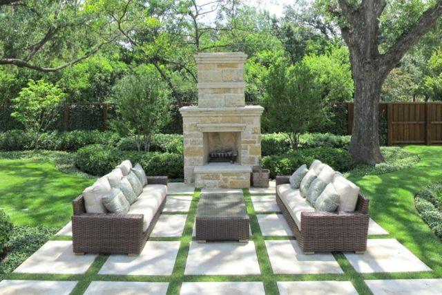 Popular Garten gestalten Sofas Sets Kamin freien Pflastersteine